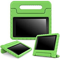 "MoKo Case for Fire 2015 7 inch - Kids Shock Proof Convertible Handle Light Weight Super Protective Stand Cover for Amazon Fire Tablet (7"" Display - Previous 5th Generation, 2015 Release Only), GREEN"