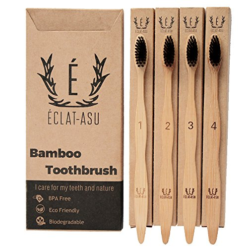 Natural Bamboo Toothbrush, 100% organic and recycled, vegan, charcoal infused BPA free bristles, teeth whitening, numbered, dental care and pack of 4