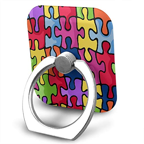 (FISHISOK Autism Awareness Cell Phone Ring Holder, Finger Grip Stand Holder,360 Degrees Rotation,Compatible with iPhone,Samsung,Phone Case,etc)