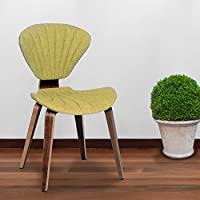 Armen Living LCLICHWAGR Lisa Chair in Green Fabric and Walnut Wood Finish Wood