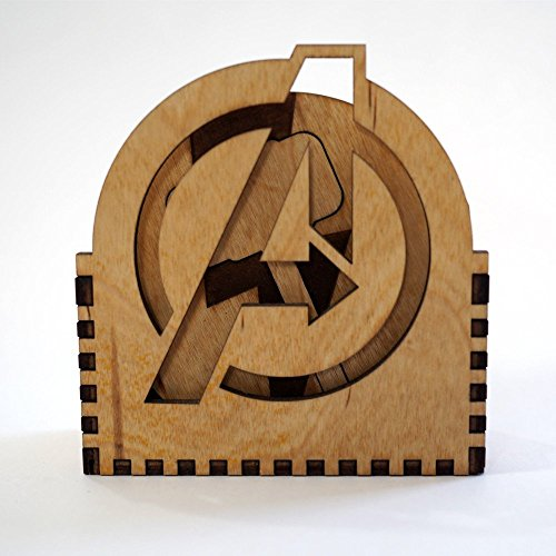Logo Coaster Set - Avengers Coaster Set - Logo | Laser cut and laser engraved wood coaster set. Perfect gift, memorabilia or collectible