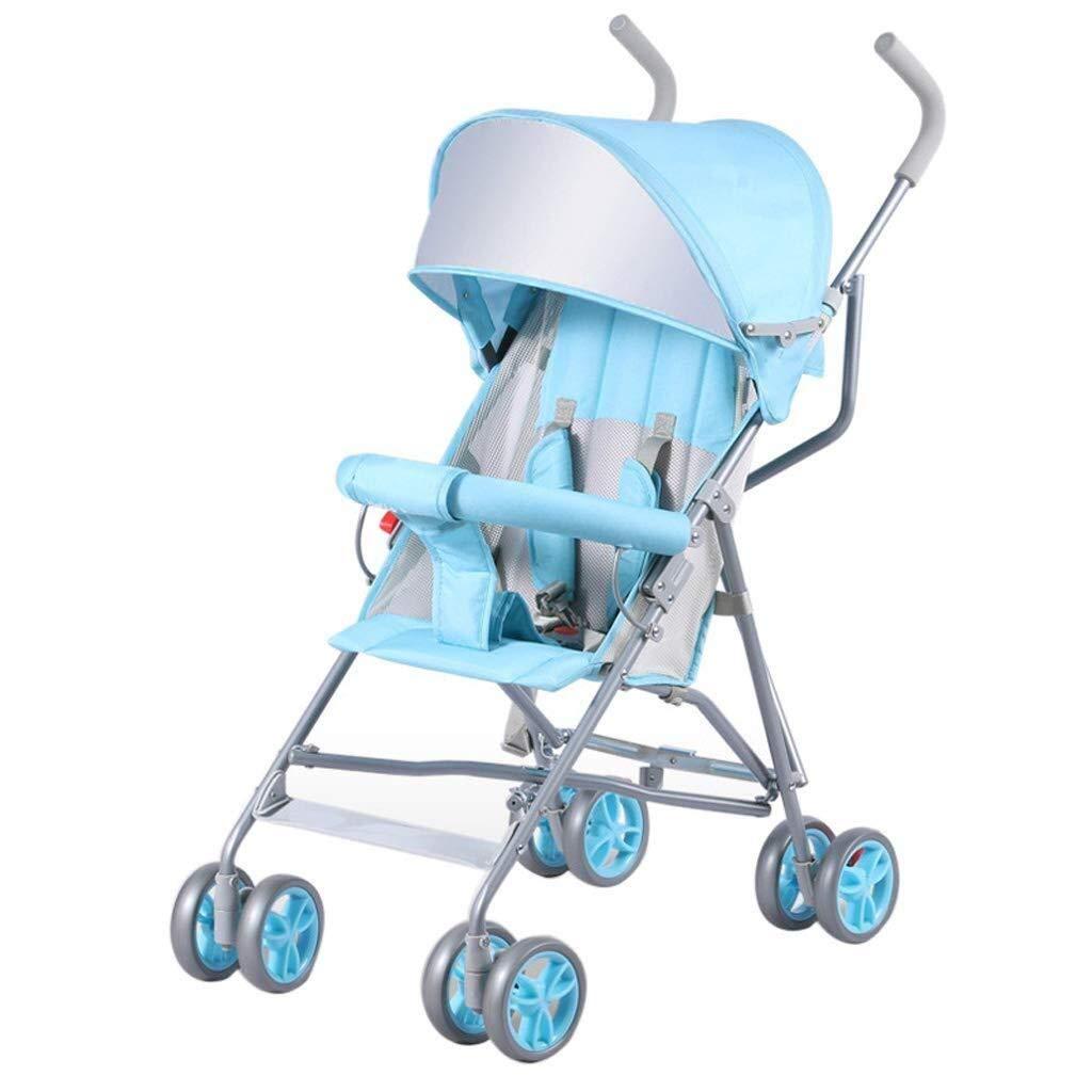 WDOPZMS Baby Stroller for Children - Stroller Lightweight Buggy Foldable Baby Pushchair Four Wheel Adjustable Jogger Travel System (Color : Light Blue)