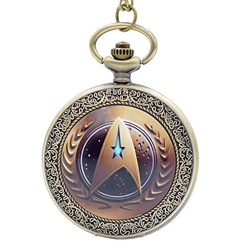 Movie Star Trek Quartz Pocket Watch Analog Pendant Necklace Chain for Men Women