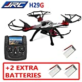JJRC H29G (+2 EXTRA BATTERIES) 5.8Ghz High Range FPV with LCD Monitor RTF RC Quadcopter Drone One Key Return/Headless Mode 3D flips 2.0MP Camera (Red)