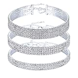 Naimo 3pcs Diamond Crystal Rhinestone Choker Necklace Wedding Collar Necklace (Included 3/4/5 row)