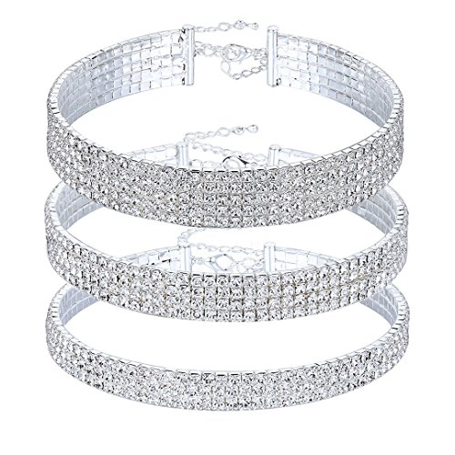 Naimo 3pcs Diamond Crystal Rhinestone Choker Necklace Wedding Collar Necklace (Included 3/4/5 row) by Naimo