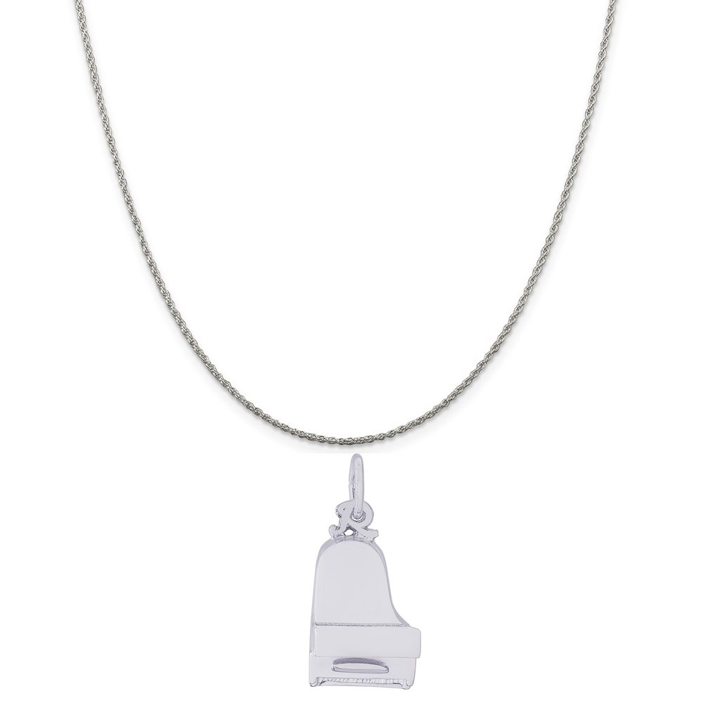 18 or 20 inch Rope Rembrandt Charms Sterling Silver Grand Baby Piano Charm on a 16 Box or Curb Chain Necklace