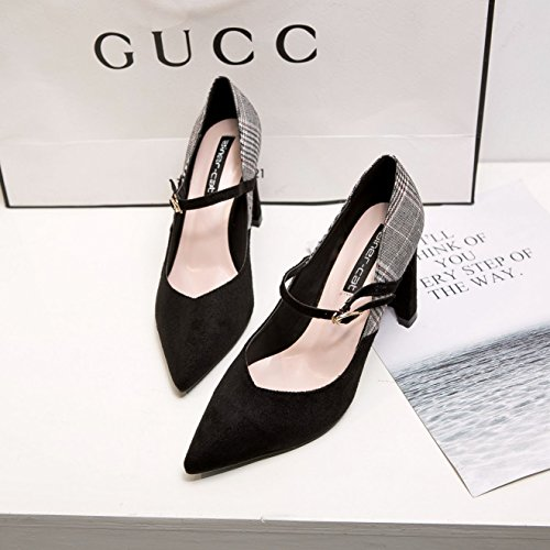 ZHZNVX El nuevo muelle de amarre ranurada satin irregular con la punta de los zapatos de tacón alto color hechizo calzados femeninos boca superficial solo zapatos black