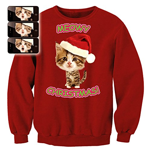 Morphsuits Digital Dudz Meow Kitty Ugly Christmas Sweatshirt, Red, (Digital Dudz Christmas Sweater)
