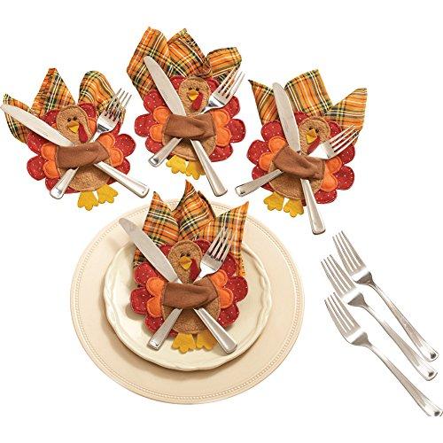 Thanksgiving Turkey Silverware & Napkin Holders - Set of 4