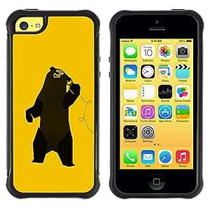 Paccase / Suave TPU GEL Caso Carcasa de Protección Funda para - Funny Music Bear Dancing - Apple Iphone 5C