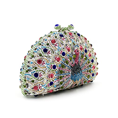Clutch Party Purse Luxury Rhinestones Peacock Womens Bags Evening Hollow Shape Colorful Flada 2 for Pxw0q8q