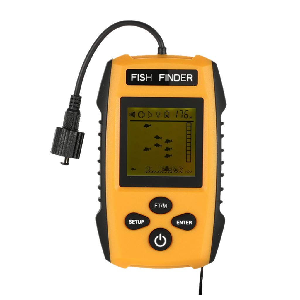 1KTon Freshwate-r Fish Finde-r Electric Boat Fishing Depth Wireless Locator Tracke-r by 1KTon