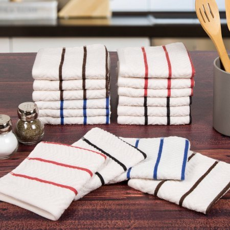 Somerset Home 16 Piece Cotton Chevron Terry Kitchen Towel Washcloth - Mall Shops Somerset
