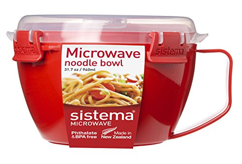 Best Chinese Food Dish - Sistema Microwave Collection Noodle Bowl, 31.7 oz./0.9 L, Red (1109ZS)