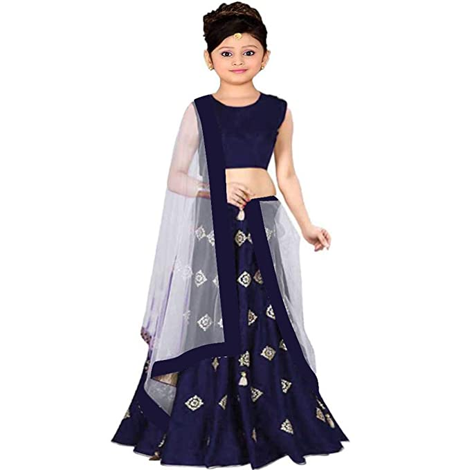 Clothes Shop Girls Banglory Satin Simple Embroidered Semi Stitched Wedding Wear Lehenga Choli Suitable To 8 13 Year Girls