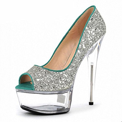 Spring And Summer Fashion en cuir pour femme Imperméable flash poudre de cristal Super High Heeled Sandals Nightclub , silver , 40