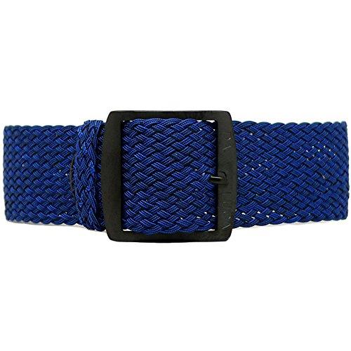 DaLuca Braided Nylon Perlon Watch Strap - Navy (PVD Buckle) : 18mm