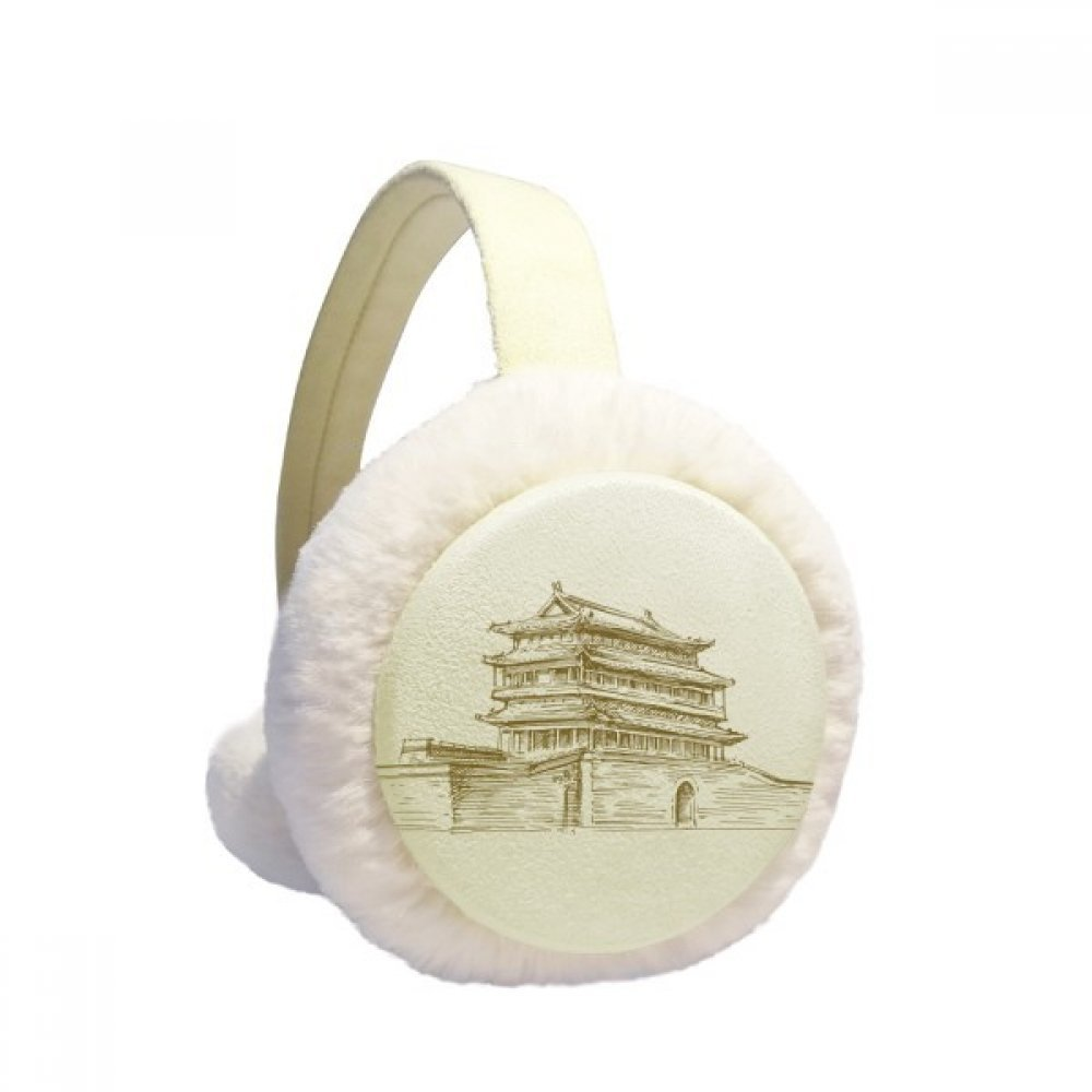 Beijing Palace Landmark Sketch Winter Earmuffs Ear Warmers Faux Fur Foldable Plush Outdoor Gift