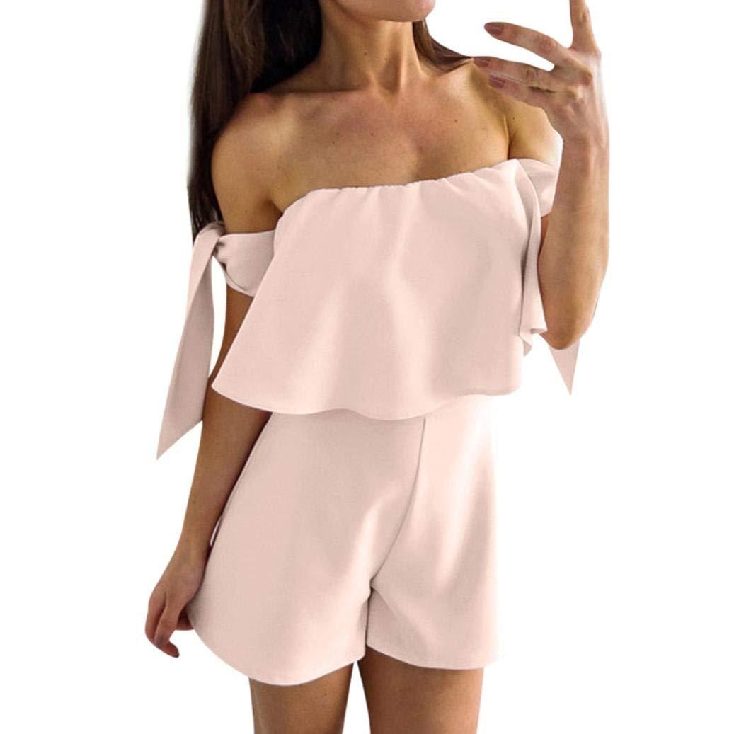 GWshop Ladies Sexy Elegant Jumpsuits, Women Short Jumpsuits,Summer Sexy Solid Off Shoulder Rompers Loose Bandage Bodysuits Pink XL