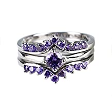 Gy Jewelry Round Amethyst White Gold Filled Women's Wedding Ring Sets Gifts