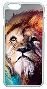 Generic 3D Colorful Lion King Abstract Art Hard Case for iphone 6 plus White