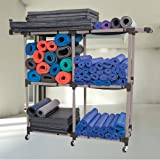 Power Systems Multi-Purpose Fitness Equipment Storage Rack, 75 x 70 x 22 Inches, Black/Gray (92582)