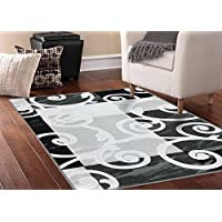 Adgo Collection Contemporary Mediterranean Floral Curved Design Rubber-Backed Non-Slip Non-Skid Area Rugs, Black White, 6' x 9'