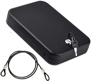 Portable Storage Lock Box,Portable Gun Safe with 4-feet Security Cable,Black