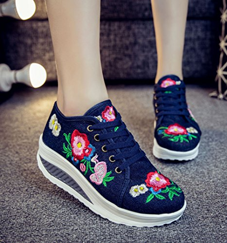 Blue Platform Shoes Casual Embroidery Up Lace AvaCostume Womens Sneaker a8RqFF