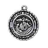 United States Marine Corps Military Medallion Antiqued Pewter Pendant Charm - Jewelry Making Supply by Charm Crazy