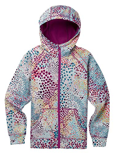 Burton Girls' Crown Bonded Full Zip Hoodie, Stout White Dots, Large