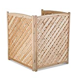 Natural Outdoor 3 Panel Wood 38'' Height Air Conditioner Screen Privacy Fence Hideaway
