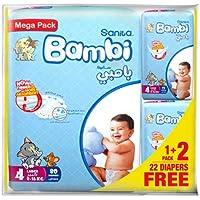 Sanita Bambi Baby Diaper Mega pack Large,8-16kg,(80+26 free) count