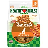Nylabone Healthy Edibles Natural Dog Treats, Bacon Chew Treats For Small Dogs, 15 Count