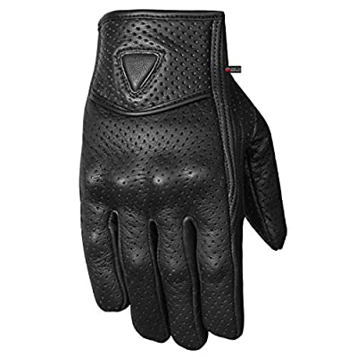 Premium Men's Motorcycle Leather Perforated Cruiser Protective Gel Gloves L: Automotive
