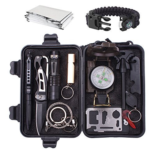 Emergency Survival Gear Kit 13 in 1, Outdoor SOS Survival Tool with Survival Bracelet, Wire Saw, Compass, Emergency Blanket, Fire Starter, Tactical Pen for Camping, Hiking, Climbing