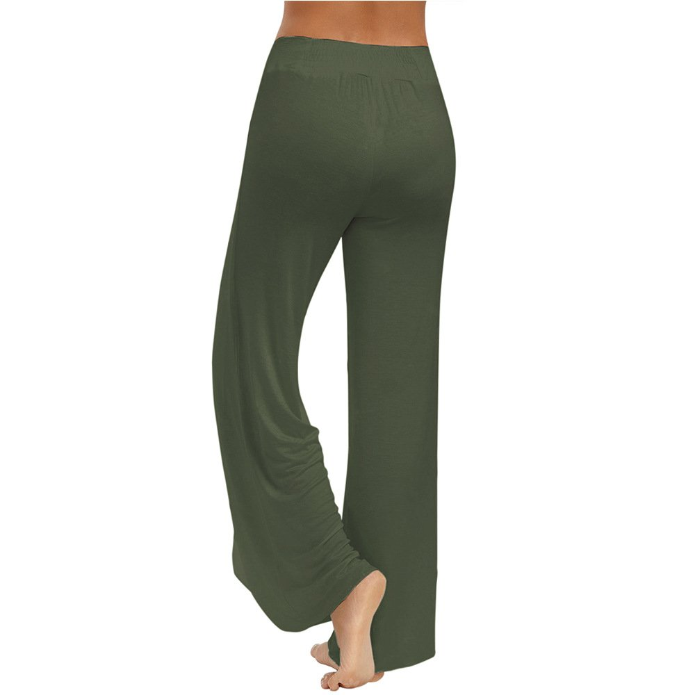 4589a76b75951b Amazon.com: Gamery Women's Casual Wide Leg Slit Loose Palazzo Yoga Fitness  Sports Pants Trousers: Clothing