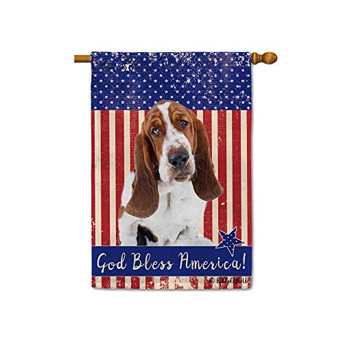 BAGEYOU God Bless American with My Love Dog Basset Hound Patriotic Decorative House Flag for Outside 4Th of July Decor Banner 28x40 inch Printed Double Sided