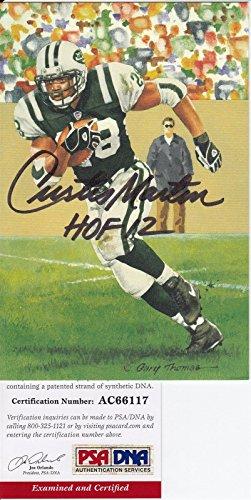 Martin Jets Curtis (Curtis Martin Jets Goal Line Art Signed Autographed w/HOF PSA/DNA AC66117)