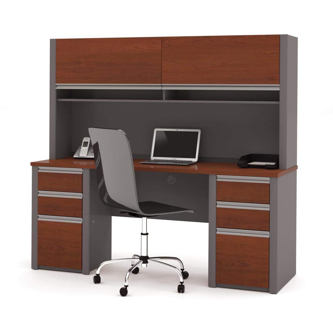 Bestar Credenza Desk with Two pedestals and Hutch - Connexion