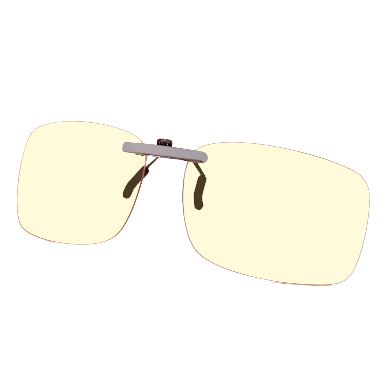 GAMEKING Ultra Lightweight Blue Light Blocking Clip-on Computer Glasses Gaming Glasses Rimless | Easy Fit on Rx Frames | Digital Eyestrain Fatigue Headache Relief | Sleep Better
