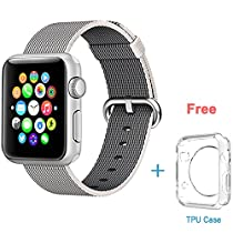 Apple Watch Band,Eoso 2016 Newest Fine Woven Nylon Strap Replacement Wrist Band for iWatch(Nylon Pearl,38mm)
