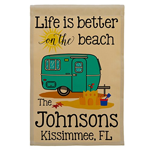 Happy Camper World Life is Better on The Beach Personalized Campsite Sign, Camping Flag, Customize Your Way, Tan