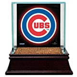 MLB Chicago Cubs Glass Single Baseball Case with Team Logo Background and Game-Used Dirt