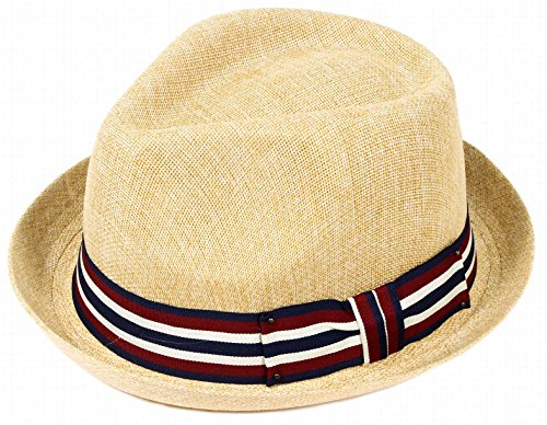 AshopZ Unisex Summer Outdoors Short Brim Straw Fedora Hat,Tan S/M (Hats For Wholesale)