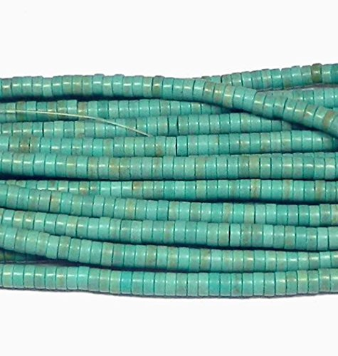 4mm Heishi Chalk Turquoise Dyed Blue Gemstone Beads 15 inch Loose Strand Semi Precious Stone Beads ()
