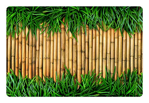 Ambesonne Green and Brown Pet Mat for Food and Water, Bamboo with Grass Asian Inspirations Summer Ecology Japanese, Rectangle Non-Slip Rubber Mat for Dogs and Cats, Sand Brown Fern Green ()