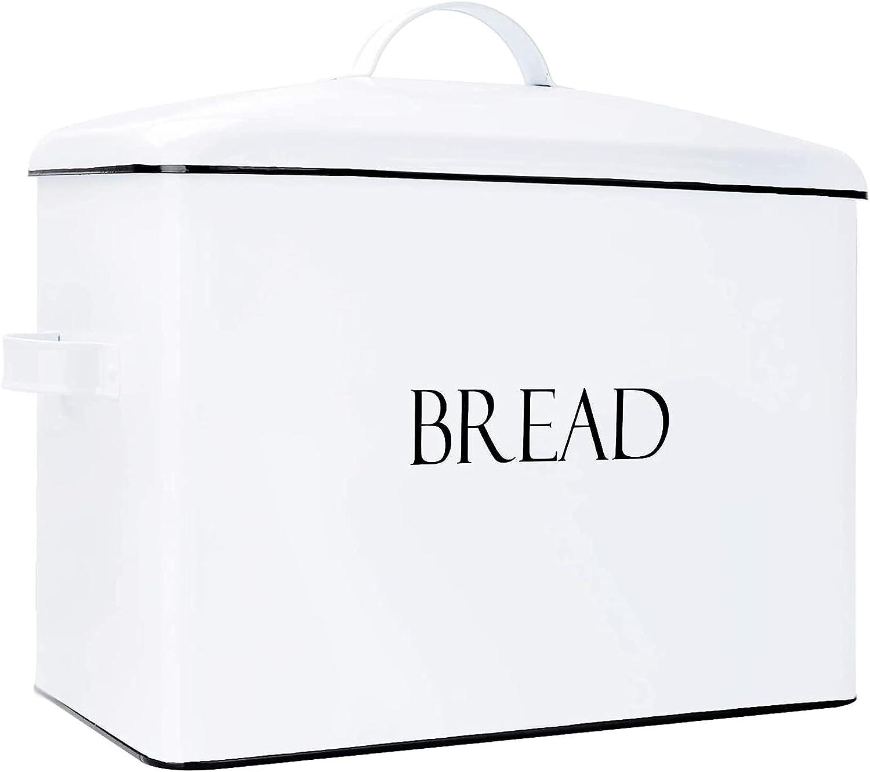 Panera retro grande de metal para almacenamiento en el hogar productos horneados para panes panera con tapa pasteler/ía crema marfil bagels chips almacenamiento de alimentos secos
