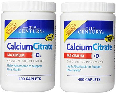 21st Century Calcium Citrate Plus D Maximum Caplets, 400 Count (Pack of 2)